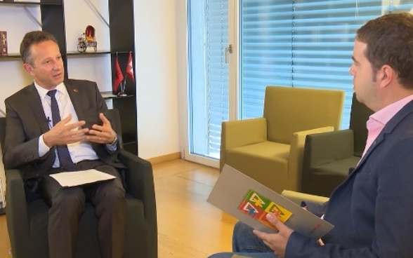 Swiss Ambassador in Albania during the interview with Vizion+ television.