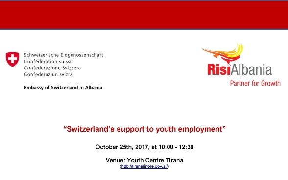 Invitation to the launching of RisiAlbania - a Swiss-funded youth employment project