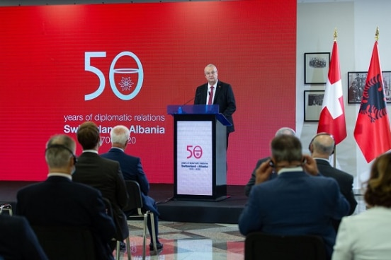 Swiss Ambassador in Albania Adrian Maître opening the conference and exhibition on 50 years of diplomatic relations between Switzerland and Albania