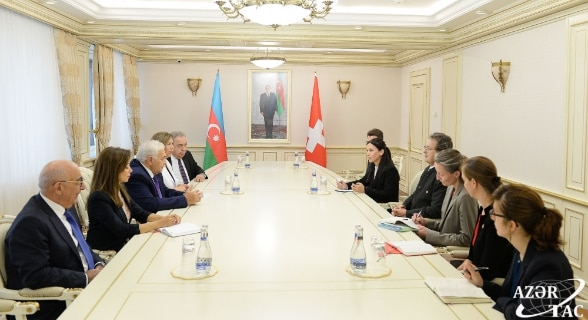 Meeting between the President of the Council of States, Jean-René Fournier and the Speaker of Parliament Ogtay Asadov.