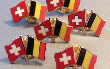 Photographie of a Belgium-Switzerland pin