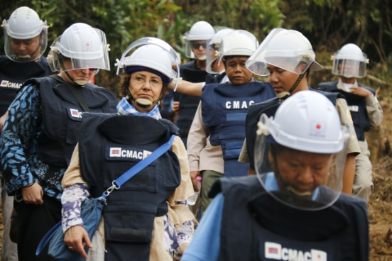 Carin Salerno, Country Director SDC Cambodia visits anti-personnel mine affected areas.