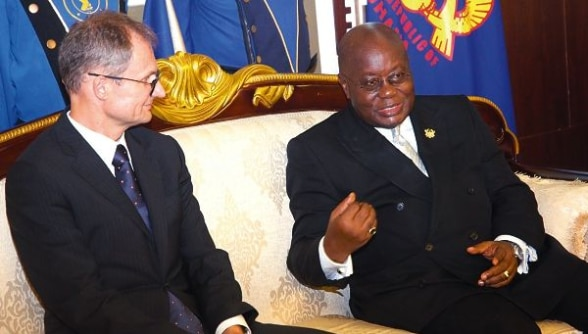 President Akufo-Addo interacting with Mr Philipp Stalder (left), the Swiss Ambassador to Ghana