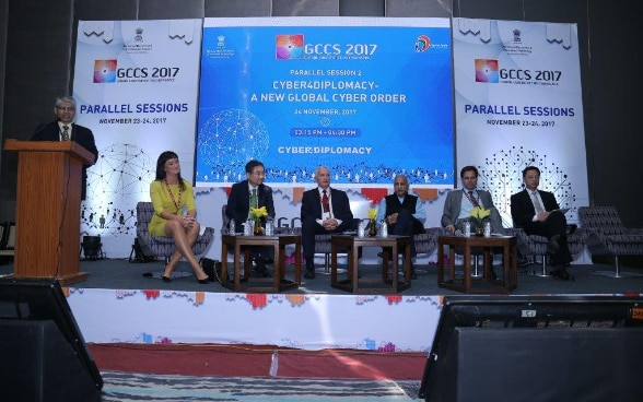 A panel at the GCCS 2017. (L-R): Ms. Sophie Lohde,  Minister, Public Sector Innovation, Denmark; Mr. Hyun Cho,  Vice Minister, Ministry of Foreign Affairs of Republic of Korea; Dr. Istvan Mikola,  State Secretary, Ministry of Foreign Affairs and Trade of Hungary; Mr. M.J. Akbar,  Minister of State, Ministry of External Affairs, Govt. of India; Mr. Frank Grutter,  Ambassador, Swiss Federal Department of Foreign Affairs; Mr. Long Zhou,  Ambassador, Ministry of Foreign Affairs of China. The panel was moderated by Mr. Asoke Kumar Mukerji,  Former Diplomat, Government of India.