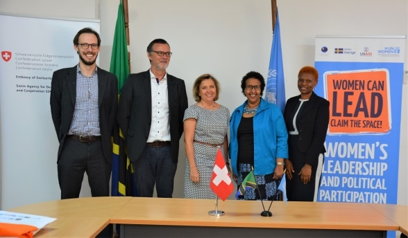 L to R - Head of Governance Domain, Luca Etter; Head of Cooperation, Leo Näscher; Ambassador Florence Tinguely Mattli; UN Women Representative Ms. Hodan Addou and WLPP Project Team Leader Ms. Erasmina Massawe.