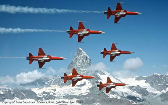 The six Tiger jets of the Patrouille Suisse flying in formation past the Matterhorn mountain