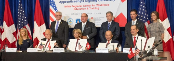 Swiss Federal Councillor Johann N. Schneider-Ammann signs Memorandum of Understanding with Secretary of Education Betsy DeVos, Secretary of Commerce Wilbus Ross, and Secretary of Commerce Alexander Acosta at NOVA Community College in Woodbridge, VA.