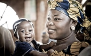 Smiling mother and child in Nigeria