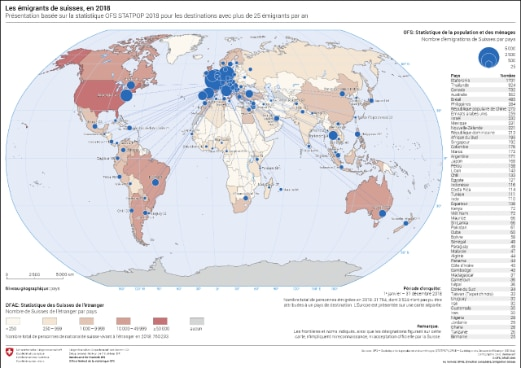 Carte des émigrants suisses à travers le monde en 2018