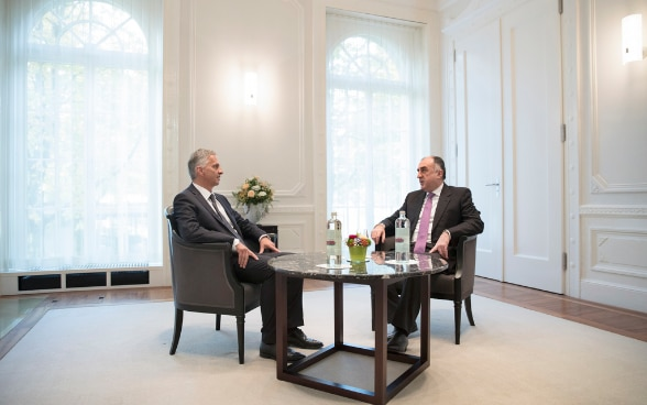 Didier Burkhalter and Elmar Mammadyarov, the Azerbaijani minister of foreign affairs.