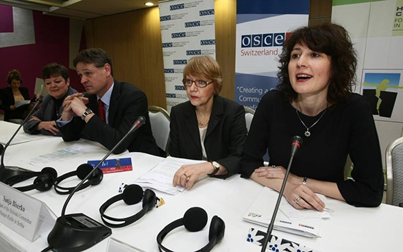 Opening ceremony of the civil society conference in Belgrade, 24.02.2014. From left to right: Paula Thiede, Deputy Head of the OSCE Mission to Serbia, Jean-Daniel Ruch, Ambassador of Switzerland to Serbia, Sonja Biserko, President of the Helsinki Committee for Human Rights in Serbia and Izabela Kisic, Executive Director of the Helsinki Committee for Human Rights in Serbia