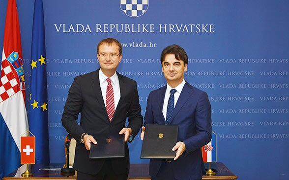 The Swiss ambassador to Croatia, Stefan Estermann, and Deputy Prime Minister and Minister of Regional Development and EU Funds Branko Grčić.