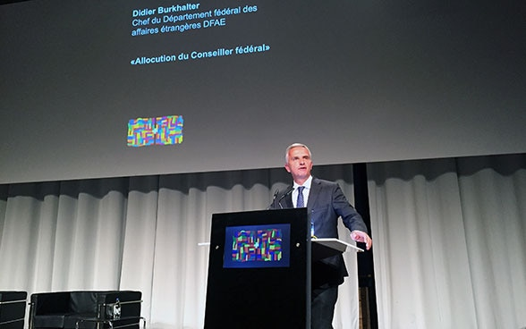Federal Councillor Didier Burkhalter during the Annual Conference of the Human Security Division (HSD) 2015. © FDFA