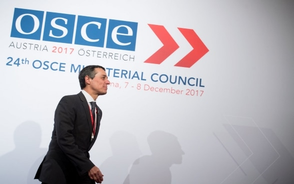 The head of Swiss diplomacy, Ignazio Cassis, at an OSCE meeting in 2017.