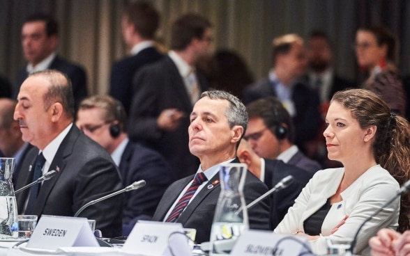 Federal Councillor Cassis is listening to a speech at the Council of Europe ministerial session in Helsinki.
