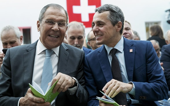 The head of the FDFA, Ignazio Cassis meets his Russian counterpart Sergei Lavrov in Moscow.