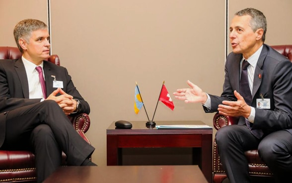 Federal Councillor Ignazio Cassis in discussion with Ukrainian foreign minister Osman Vadym Prystaiko.