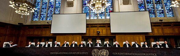 Image of a courtroom at the International Court of Justice in The Hague