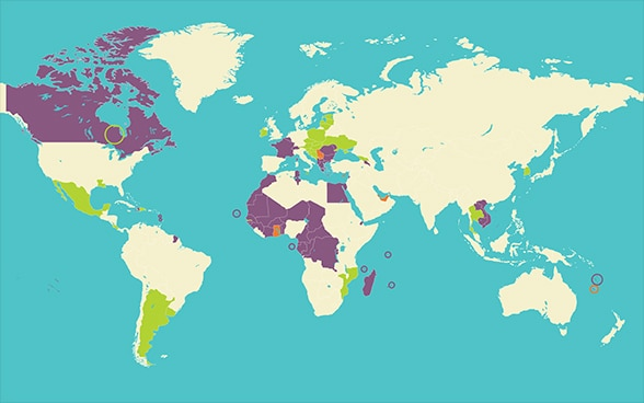 World map of the members of the Francophonie