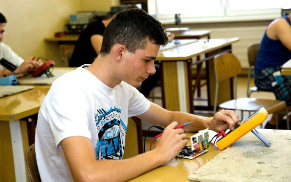 Young man in a Slovakian vocational school.