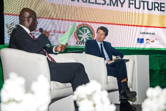 Mr. Daniel Lauchenauer, Deputy Head of Cooperation at the Embassy of Switzerland in Ghana and the Board Chairman of COTVET, Mr. Francis Ansuah Kyerematen during the panel discussion