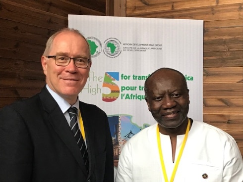 The Minister of Finance of Ghana, Hon. Ken Ofori-Atta (right) and Ambassador Raymund Furrer (left) after their talks on economic cooperation between Switzerland and Ghana