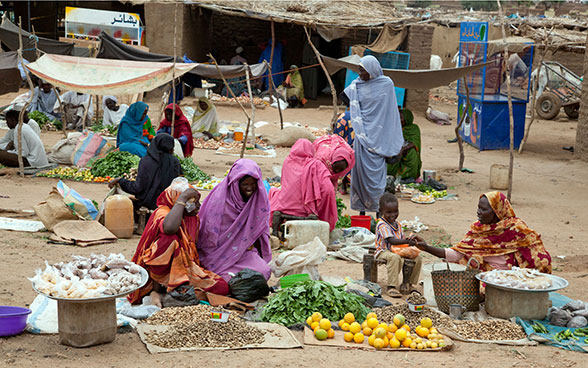 Marktsituation in Darfur im Sudan.