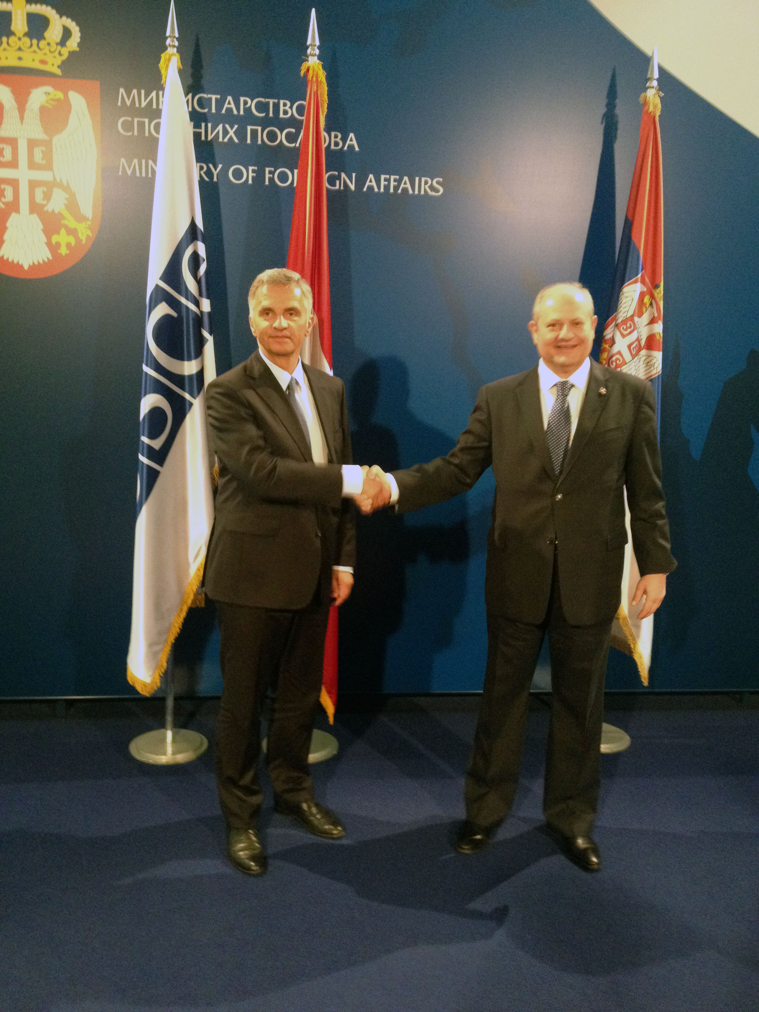 Didier Burkhalter meets with the Serbian foreign minister, Ivan Mirkić, in Belgrade