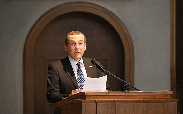 Israel's ambassador to Switzerland, Jacob Keidar, gives a speech on International Holocaust Remembrance Day.