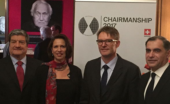 Handover ceremony for the IHRA chairmanship, from left to right: Italian Ambassador Sandro De Bernadin (chairman in 2018), Switzerland's Ambassador to Germany Christine Schraner Burgener, Benno Bättig (current chairman), and Romanian Ambassador Mihnea Constantinescu (outgoing chairman).