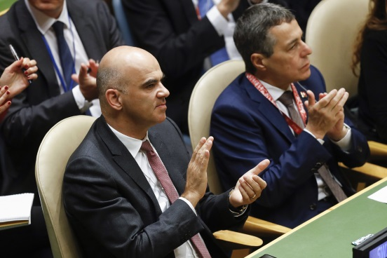 Swiss Federal President Alain Berset, left, and Swiss Federal Councillor Ignazio Cassis, during the 73rd session of the General Assembly of the United Nations